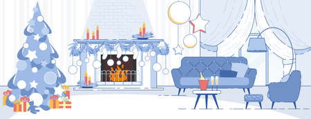 Home Interior Christmas Decorations Flat Vector Background with Decorated Christmas Tree, Stockings on Fireplace, Comfortable Furniture, Champagne Bottle on Table in Apartment Living Room Illustration