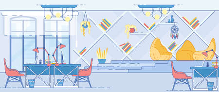 Modern Office Interior with Computer Tables and Special Area for Rest with Soft Bag Armchairs, Book Shelves and Decoration in Indian Style. Contemporary Architecture. Cartoon Flat  Illustration