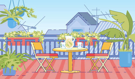 Cottage House Outdoor, Roof Terrace, Rural Home Comfortable Balcony with Flowerbed Hanging on Railing, Plants in Flowerpots, Folding Chairs, Glass Jug with Herbal Tea on Table Flat Vector Illustration