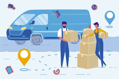 House Moving Agency Employees or Movers, People Cartoon Characters Ship Cardboard Boxes to Van. Home Movement Transportation and Relocation Service, Goods Delivery. Flat Vector Illustration.