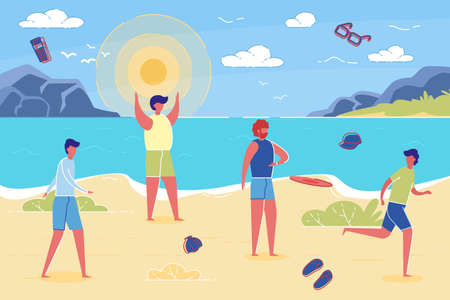 Man leaves Beach Vacation with Friends due to Family or Work Responsibility and Chore. Fathers and Men Duty and Role in Society, Parenting and Family Relationship. Trendy Flat Vector Illustration. Иллюстрация