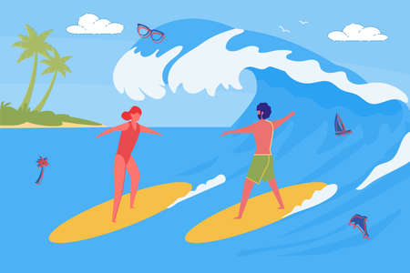 Surfers - Big Wave Catchers, Young Couple or Friends Spending Vacation Together. Man and Woman Cartoon Characters Standing on Surf Boards on Summer Ocean Beach Background. Flat Vector Illustration. Illustration