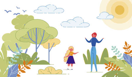 Mother with Child Girl Doing Breathing Relaxing Exercises in Park. People Outdoor in Nature Having Sport or Yoga Activity, Meditative Practice on Landscape Backdrop. Flat Cartoon Vector Illustration. Illustration