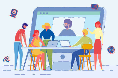 Computer Screen with Man Using Web Cam to be Present Flat Cartoon Vector Illustration. People Have Business Brainstorming. Staff Sitting at Table with Laptops. Meeting Colleagues Deciding Strategy. Иллюстрация