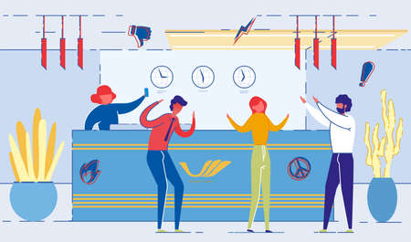 Office Workers Having Argument at Reception Flat Cartoon Vector Illustration. Woman Asking Person for Call. Angry Businesspeople Discussing Problem. Emotional Communication. Clock on Wall.
