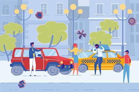 Car Accident on City Road Flat Cartoon  Illustration. Two Vehicles Collided with Damage. Angry Taxi Driver Shouting on Owner from car. Crashed Transport Incident. Person Taking Photos.