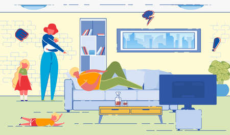Wife Dissatisfied with Husband, Neglecting his Domestic Responsibilities for Raising Children and Housekeeping. Man Watching Television in Messed up room and Angry Woman. Flat Vector Illustration. Иллюстрация
