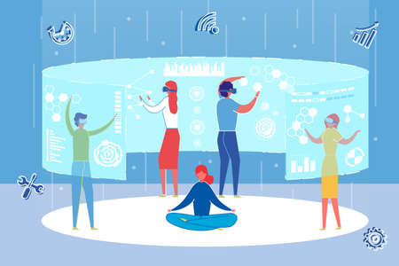 Office Workers Working with Augmented Reality Interface Flat Cartoon Vector Illustration. People Wearing Glasses and Looking at Virtual Statistics with Graphs and Charts. Business Development. Иллюстрация