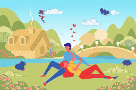 Romantic Happy Couple in Love Lying on Grass in Beautiful Countryside Landscape, Summer Date in Nature. Young Man Spends Time with Girlfriend in Village. Trendy Flat Cartoon Vector Illustration.