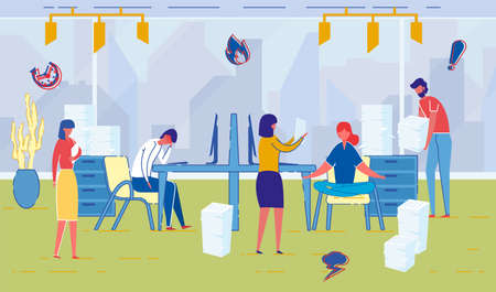 Office and Company Employees Working Hard. People Cartoon Characters Working, Cooperating and Resting, Meditating on Workplace. Modern Lifestyle Haste, Vanity, Busy People. Flat Vector Illustration. Иллюстрация