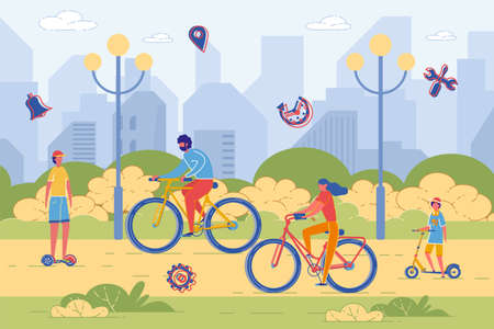 Active Family - Father, Mother and Children Riding Bicycle and Scooter and Teenage boy Rides Skateboard. Joint Sport Walk, Activity and Summer Recreation in City Park. Flat  Illustration.