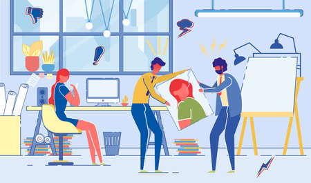 Conflict between Colleagues, Employees in Creative Design Studio or Advertising Agency. Stressful Aggressive Work Environment, Wrong Low Effective Teamwork. Flat Cartoon Vector Illustration.