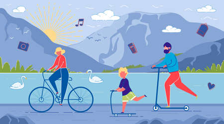 Parents and Child Ride Bicycles and Scooters on Mountain with lake Countryside Landscape Background. Family outdoor Activity, Togertherness, Tourism and Traveling. Flat Cartoon Vector Illustration.