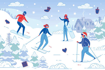 Men and Women Cartoon Characters performing Winter Outdoor Sport Activities. People in outerwear Skiing and Snowboarding on Snowy Mountain Resort Background. Trendy Flat vector illustration.