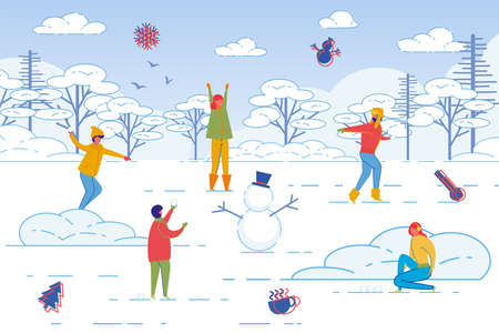 Active People Cartoon Character, Friends and Couples Spending Leisure Time Together Outdoor in Winter Snowy Weather. Men and Women Playing Snowballs and Having Fun. Flat Vector Illustration.