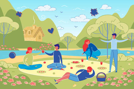 Happy Friends and Couples Characters on Summer Picnic at Park or Forest. Young People Eating, Rest and Leisure Outdoors on Nature Landscape Background. Colorful Trendy Flat Vector Illustration. Illustration