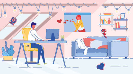 Online Date, Man and Woman Communicate over Computer in Dating Chat. Modern Social Media Internet Communication Technology. Human Relationships and Love Affair. Trendy Flat Vector Illustration.  イラスト・ベクター素材
