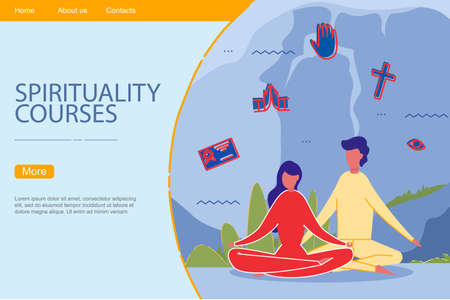 Man and Woman Cartoon Characters Sitting and Relaxing in Lotus Yoga Meditation Pose. Spiritual Philosophy practice, Spirituality Courses. Mindfulness and Wellbeing Training. Flat  illustration. Иллюстрация