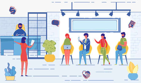 Job Interview and Recruiting Flat Cartoon Vector Illustration. HR Agency Concept. Staff Recruitment. Human Resource Department. Selection Candidates. Business Company. Woman Calling out Queue. Иллюстрация