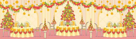 Luxury Restaurant Hall Decorations for Winter Holidays Party or Event Celebration Flat  Background with Christmas Trees, Garlands on Ceiling, Champagne on Decorated Dinner Tables Illustration