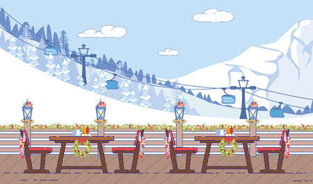 Ski Resort, Restaurant Outdoor Terrace Winter Holidays Decoration Flat Illustration. Cafe Tables and Chairs Decorated Holly Wreath and Christmas Garland, Cable Way on Snowy Mountain Hill Illustration