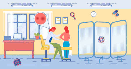 Patient at Dermatologist Appointment in Modern Healthcare Clinic or Hospital Interior. Skin Problems and Dermatology Diseases Treatment, Examining and Prevention. Trendy Flat Vector Illustration. Illustration