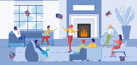 Creative Art People Work Together in Coworking Space. Work Team Informal Meeting, Training or business games. Discussion and Brainstorming in Lounge Room or Loft. Flat Cartoon Vector ILlustration.