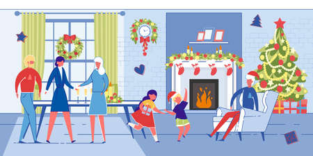 Family Different Generations Celebrate Christmas together at Home. Grandparents, Parents and Children Cartoon Characters in Decorated for Xmas Living Room. WInter Party. Flat Vector Illustration.
