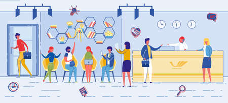 People Sitting in Line Waiting in Business Center near Reception Flat Cartoon Illustration. Job Interview and Recruiting Process. Human Resource Department in Company. Candidates or Visitors.