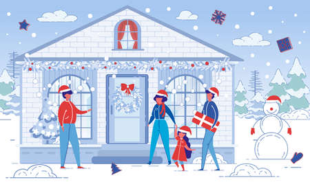 Family Visits Friends on Christmas Holiday. Man Cartoon Character Welcomes Guests - Family with Child Daughter on winter Landscape Background with Festively Decorated House. Flat Illustration. Иллюстрация