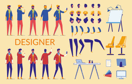Man Characters Designer Constructor Flat Cartoon Vector Illustration. Bearded Male Creation Set with Front, Side, Back Views, Hairstyles, Arms, LegsPositions and Gestures. Equipment for Creation. Иллюстрация