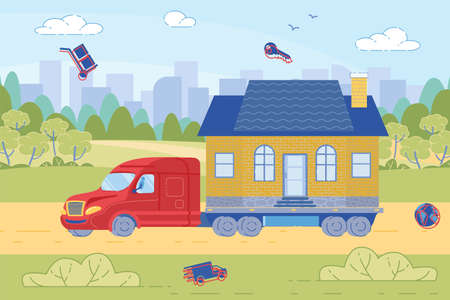 Truck Hauling Little House on Road against Urban Buildings Background. House Moving and Relocation Metaphor. Commercial Transportation and Cargo Delivery. Trendy Flat Cartoon Illustration. 矢量图像