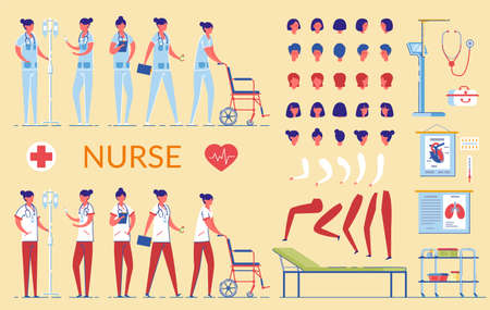 Nurse Character in Hospital Uniform Flat Cartoon VEctor Illustration. Doctor in Different Views, Medical Equipment, Nursing Tools. Building Woman. Head, Legs and Arms in Various Poses. Иллюстрация