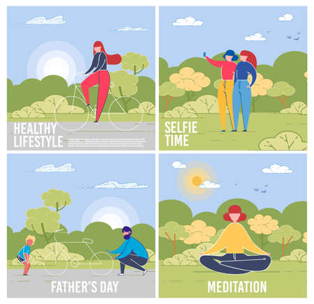 Day on Nature Cards Set with People Meditating, Doing Selfie, Leading Healthy Lifestyle and also Son and Father Characters for Fathers Day on Summer Landscape Backgrounds. Flat  Illustration. Illustration