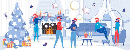 Winter Christmas Eve Men and Women, Relatives or Friends Talking and Wishing Merry Holidays in Festively Decorated Interior. People on New Year Party Celebration. Flat Cartoon  Illustration.