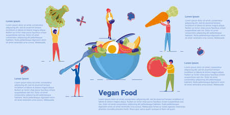 Healthy Green Vegan Food and Organic Vegetarian Menu. Nutritional Plan, Healthy Eating and Dieting. People Cartoon Characters Making Tasty Salad from Giant Vegetables. Flat  Illustration.