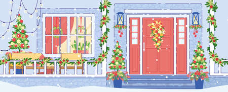 Cottage House or Chalet Exterior Winter Holidays Decorations Flat  Background with Home Porch, Outdoor Veranda or Terrace with Sofa and Armchair Decorated Garlands, Christmas Trees Illustration