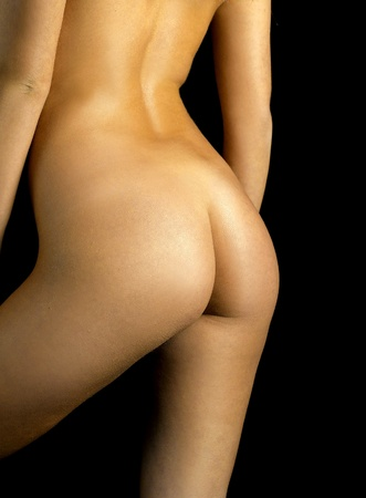 nude ass: part of sensual woman isolated in studio
