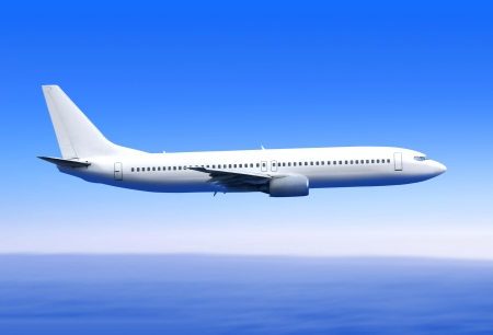 white passenger airplane in the blue sky landing away photo