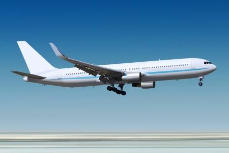 small passenger airplane landing to runway of airport
