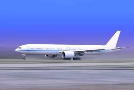 white passenger plane taking off on foggy runway