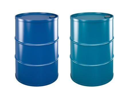 two coloured steel barrels on white background with paths Standard-Bild