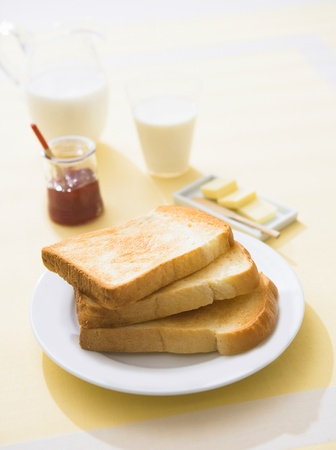 breakfest in the morning with card, jam and toast Stock Photo