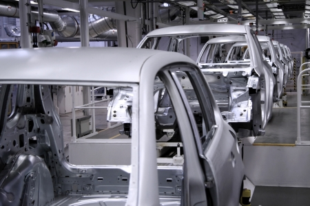 conveyer in an automobile factory  Standard-Bild