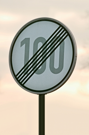 road sign showing cancellation of restriction of speed for the driver Standard-Bild
