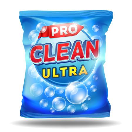 Detergent design template. Vector design of detergent on foil bag package template