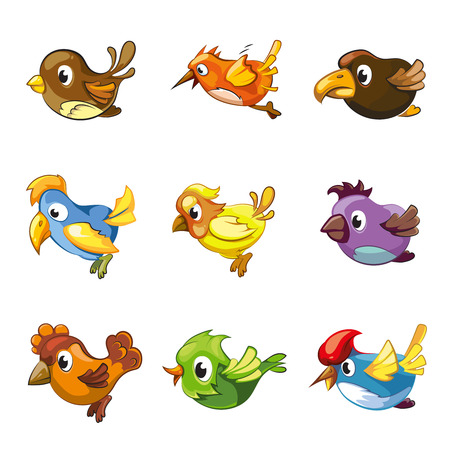 Funny birds icons. Cartoon birds vector set for game ui with birds Illustration