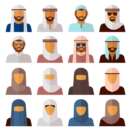 Muslim people icons. Middle eastern people avatar set in flat style vector