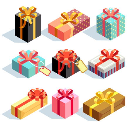 gift paper: Gift icons and Present boxes. Present and gift color boxes with ribbon bows. 3D isometric vector icons Illustration