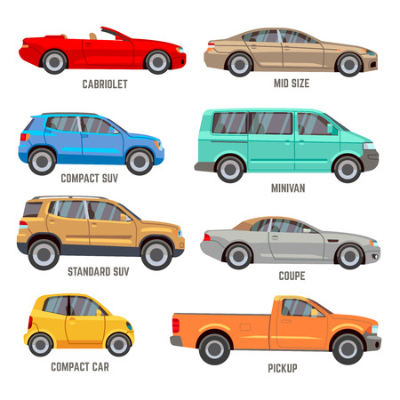 Car types vector flat icons. Automobile models icons set Ilustração